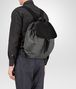 backpack in new light grey technical canvas and nero intrecciato calf Front Detail Portrait
