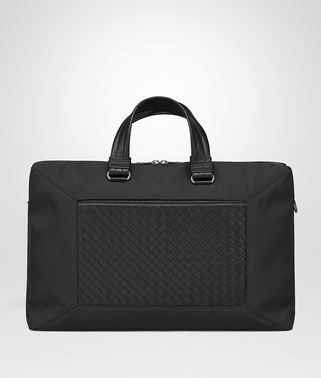 BRIEFCASE IN NERO TECHNICAL CANVAS AND INTRECCIATO CALF