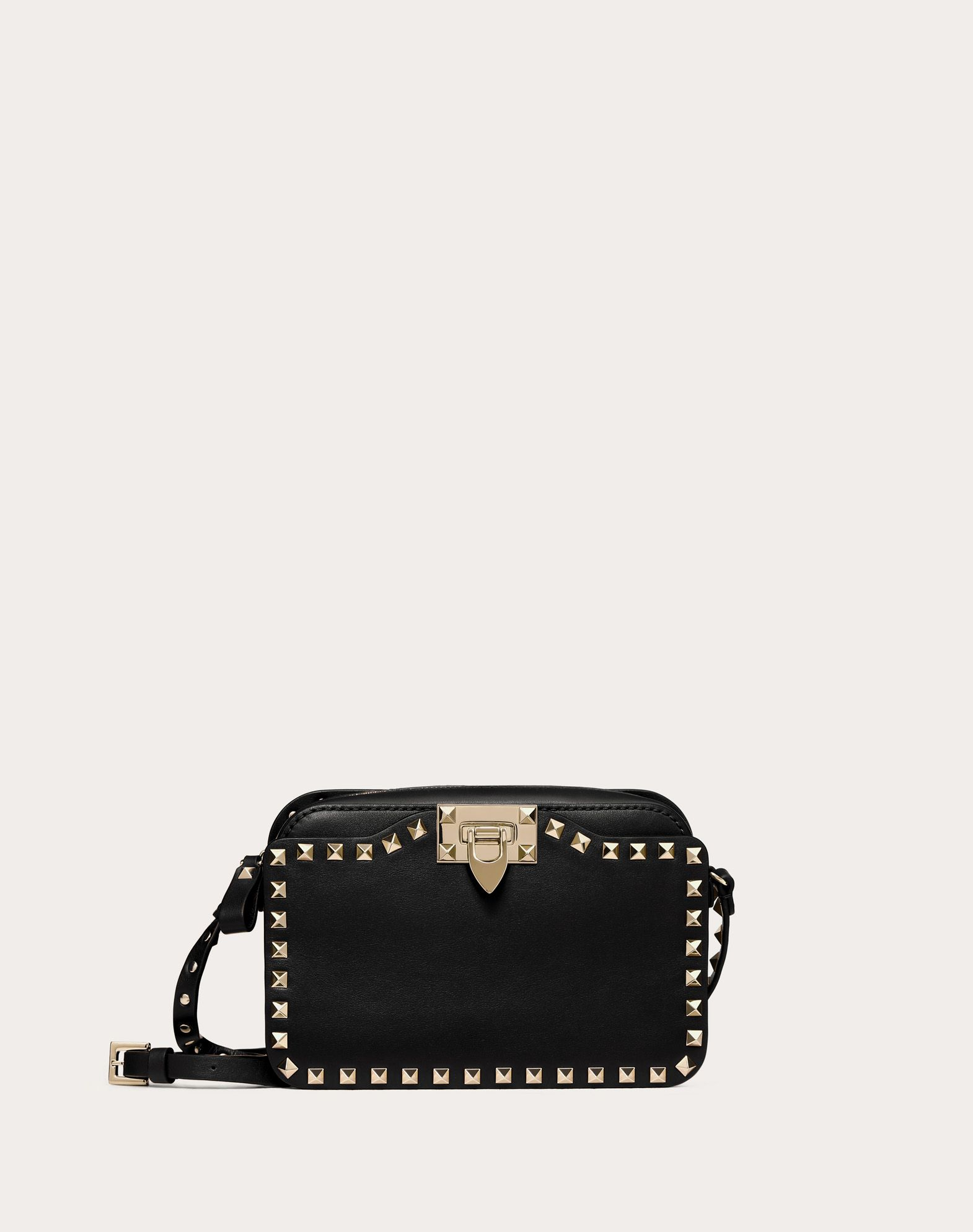 VALENTINO Studs Logo Solid colour Zip closure External pockets Internal pocket Adjustable shoulder straps  45330973pj