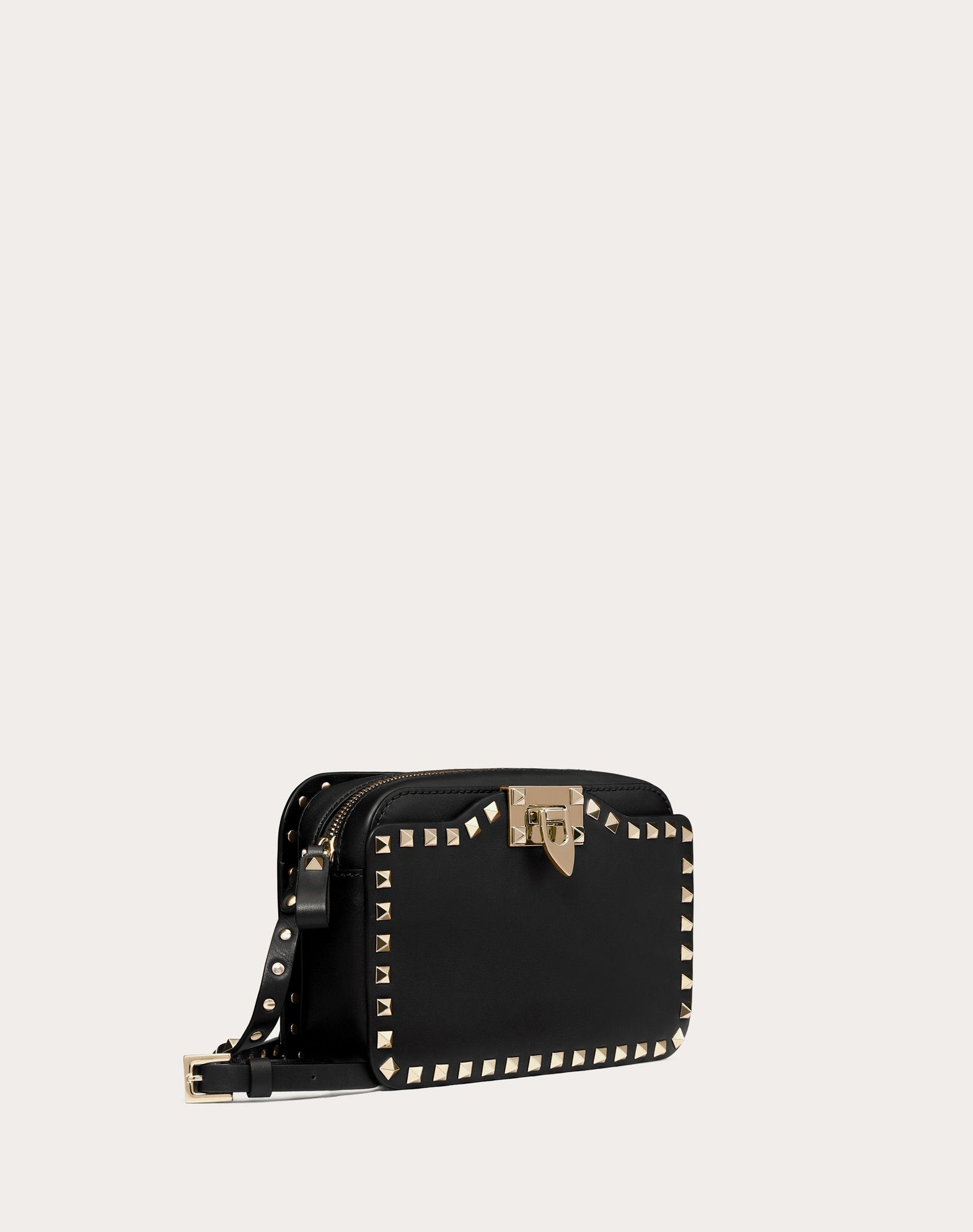 VALENTINO Studs Logo Solid color Zip closure External pockets Internal pocket Adjustable shoulder straps  45330973pj
