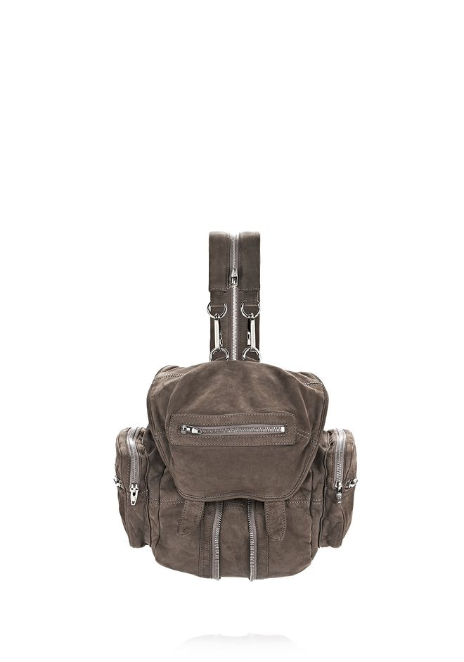 ALEXANDER WANG BACKPACKS Women MINI MARTI IN WASHED MINK NUBUCK WITH RHODIUM