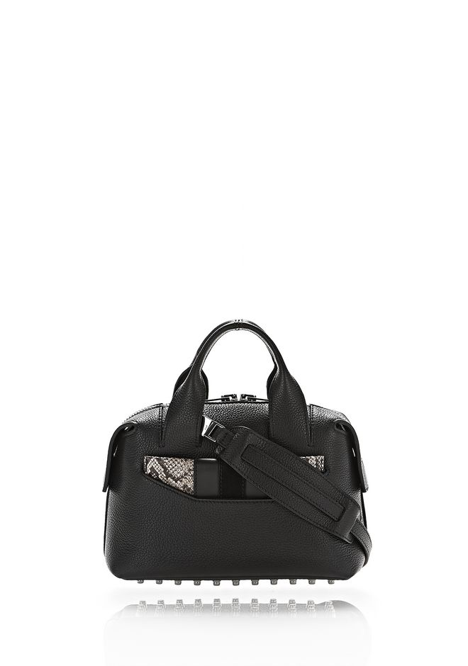 ALEXANDER WANG mini-bags ROGUE SMALL SATCHEL IN BLACK WITH EMBOSSED SNAKE