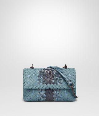 小号空军蓝刺绣小羊皮OLIMPIA手袋,配以淡水蛇皮细节