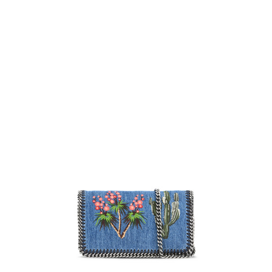 Falabella Denim Embroidered Cross Body Bag