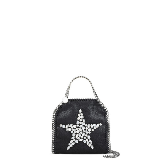 Black Falabella Crystal Stones Star Tiny Tote