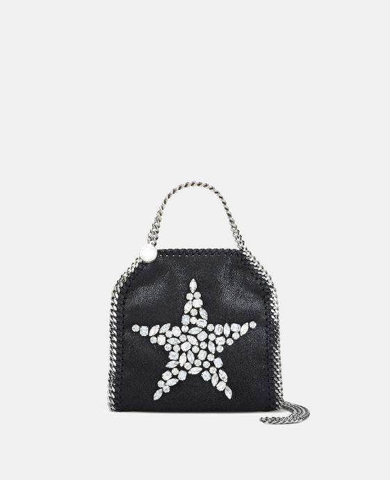 Black Falabella Crystal Stones Star Tiny Tote