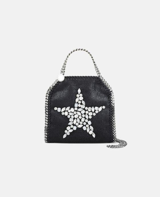 STELLA McCARTNEY Black Falabella Crystal Stones Star Tiny Tote Mini Bags D c