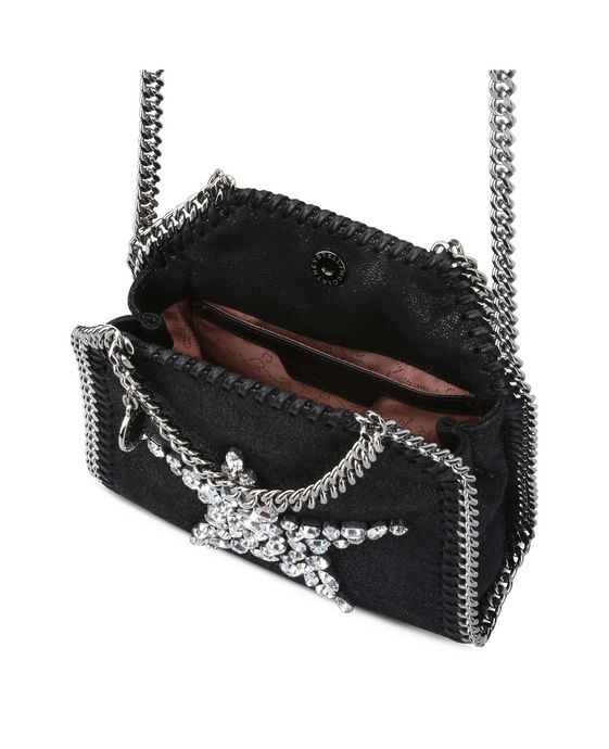 STELLA McCARTNEY Black Falabella Crystal Stones Star Tiny Tote Mini Bags D g