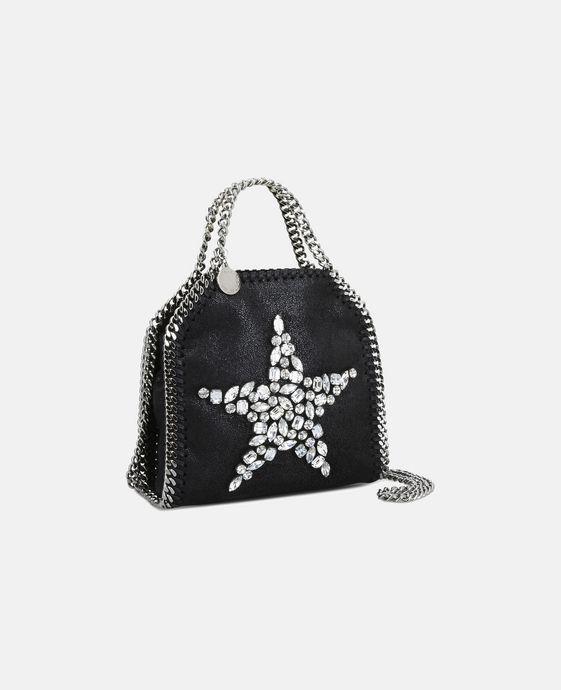 STELLA McCARTNEY Black Falabella Crystal Stones Star Tiny Tote Mini Bags D h