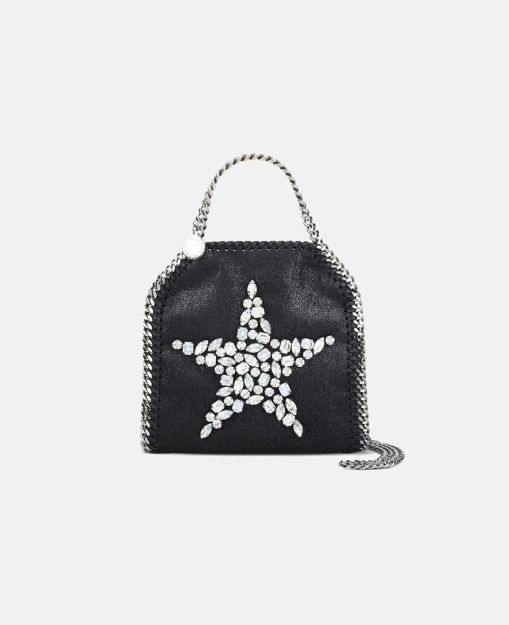 Black Falabella Crystal Stones Star Tiny Tote - STELLA MCCARTNEY