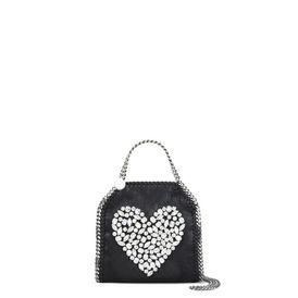 Black Falabella Crystal Stones Heart Tiny Tote