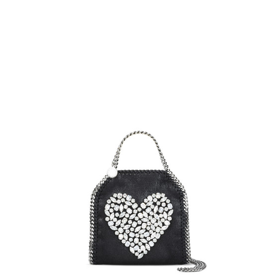 Black Falabella Crystal Stones Heart Tiny Tote
