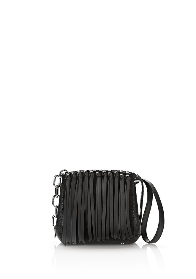 ALEXANDER WANG Shoulder bags Women ATTICA FLAP MARION IN BLACK FRINGE WITH RHODIUM