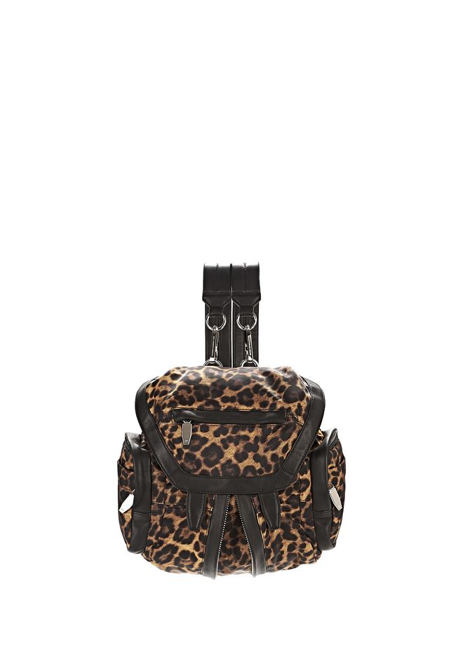 ALEXANDER WANG BACKPACKS MINI MARTI IN LEOPARD NYLON WITH RHODIUM
