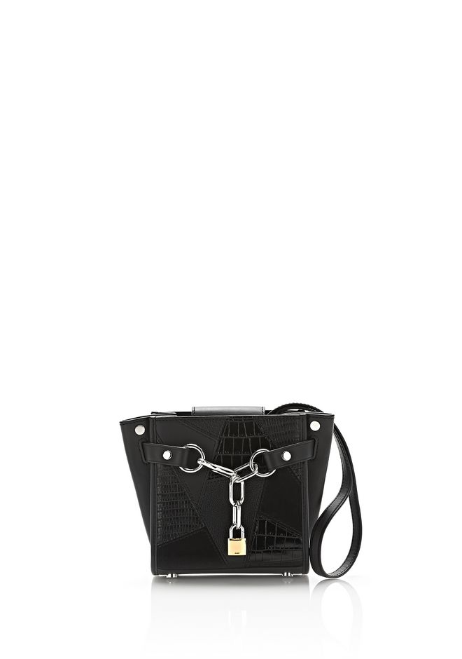 ALEXANDER WANG mini-bags ATTICA CHAIN MINI SATCHEL IN MIXED BLACK PATCHWORK WITH RHODIUM