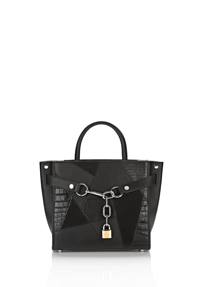 ALEXANDER WANG Shoulder bags Women ATTICA CHAIN SATCHEL MIXED BLACK MIXED PATCHWORK WITH RHODIUM
