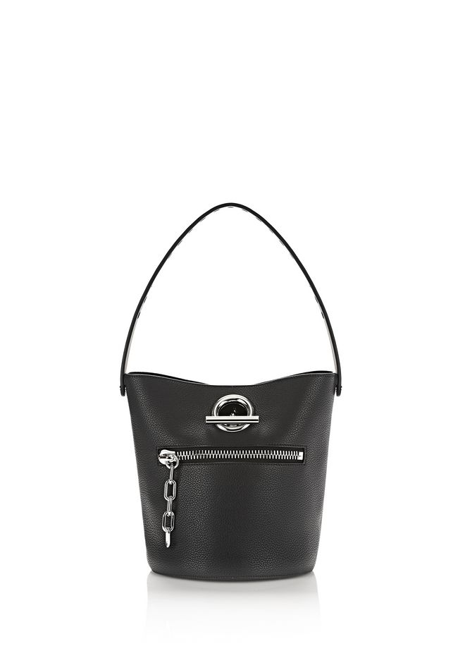 ALEXANDER WANG Shoulder bags RIOT BUCKET BAG IN PEBBLED BLACK WITH RHODIUM