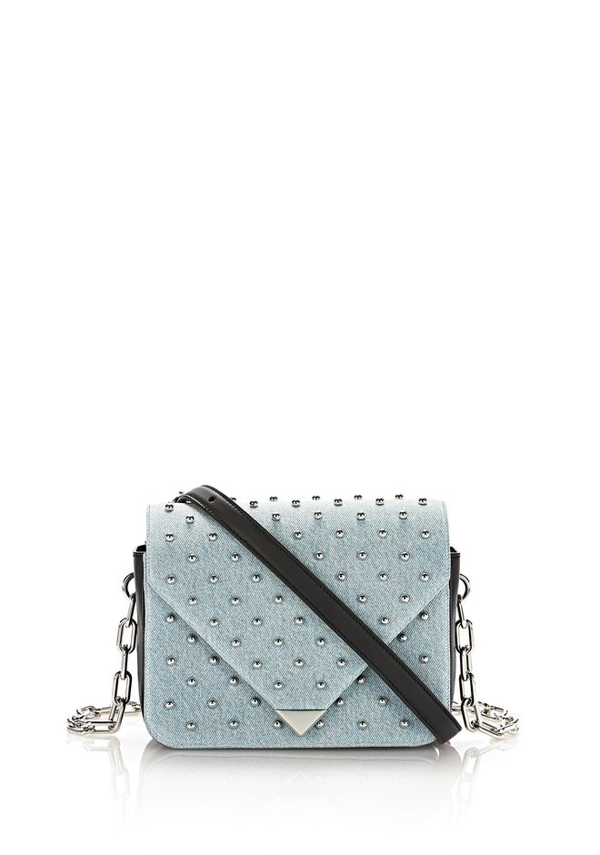 ALEXANDER WANG Shoulder bags Women PRISMA ENVELOPE SLING IN STUDDED DENIM WITH CHAIN STRAP