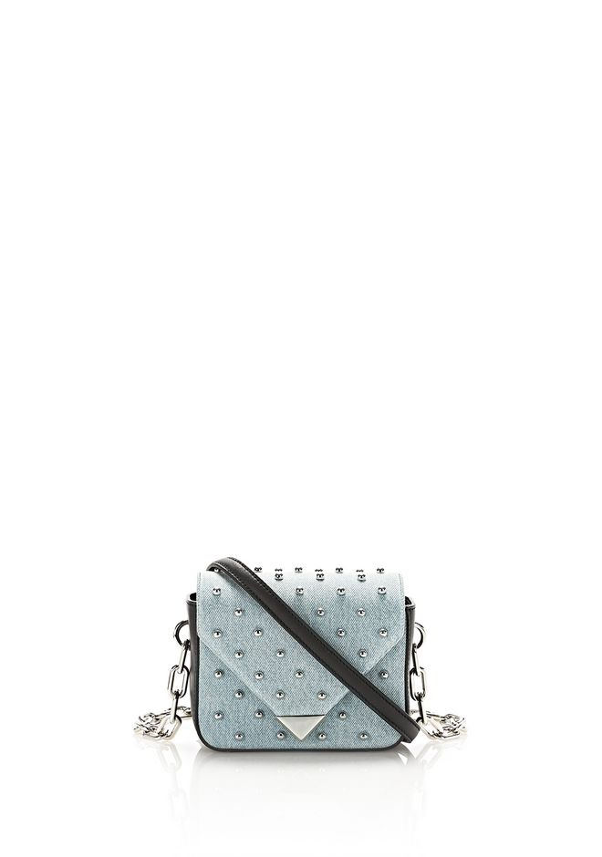 ALEXANDER WANG mini-bags MINI PRISMA ENVELOPE SLING IN STUDDED DENIM WITH CHAIN STRAP
