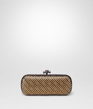 STRETCH KNOT CLUTCH IN NERO AYERS, METAL STUD DETAILS