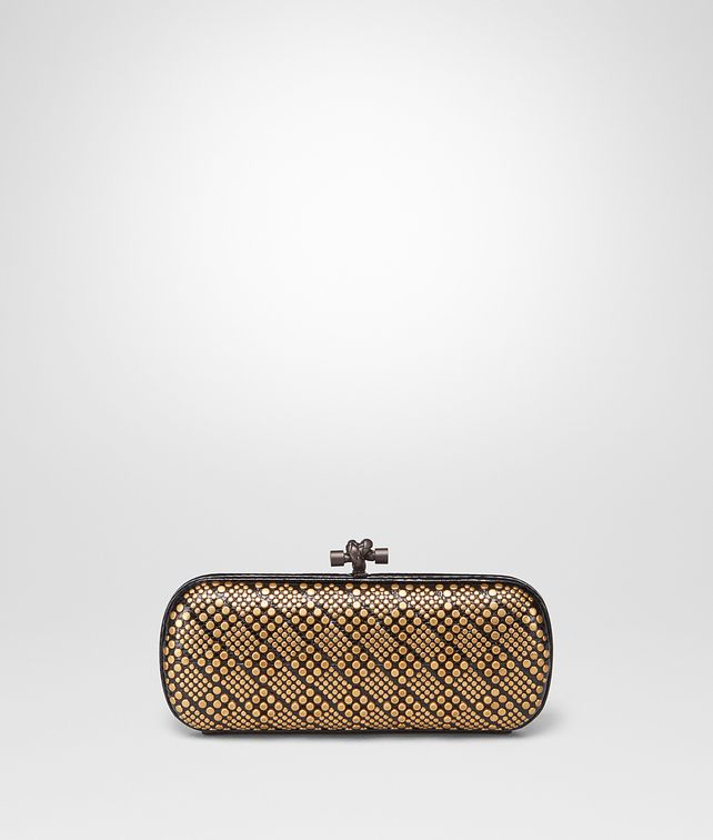 BOTTEGA VENETA STRETCH KNOT IN NERO AYERS, METAL STUDS DETAILS Clutch Woman fp