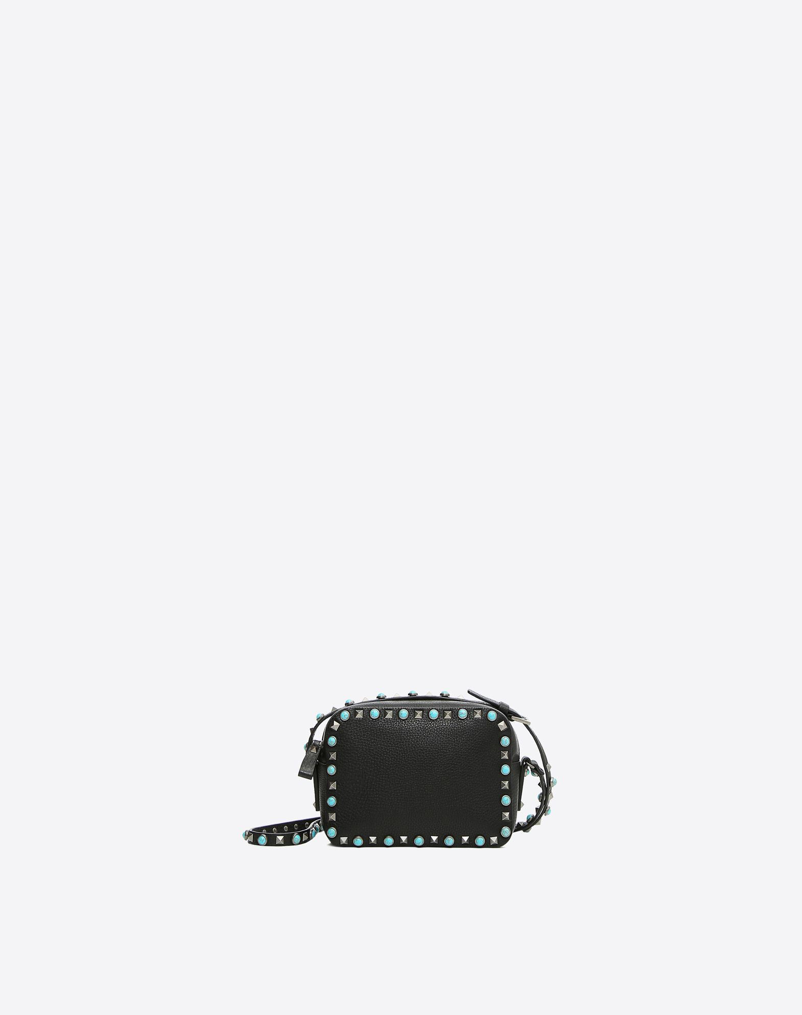 VALENTINO Leather Textured leather Studs Solid colour Logo Zip closure Internal pocket Adjustable shoulder straps  45333427sk