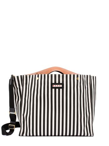 Marni Shopping bag VOILE in striped canvas  Woman