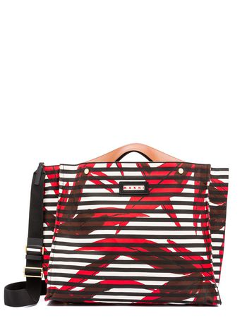 Marni VOILE shopping bag in canvas Swash print Woman