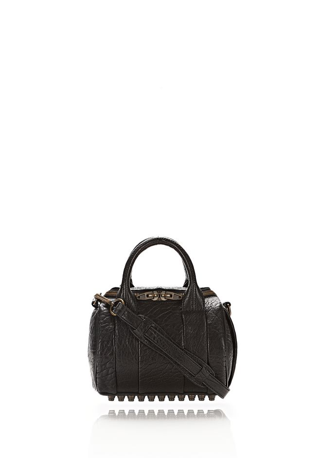 ALEXANDER WANG Shoulder bags MINI ROCKIE IN PEBBLED BLACK WITH ANTIQUE BRASS
