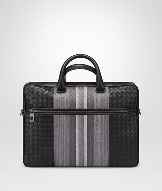 BRIEFCASE IN NERO INTRECCIATO NAPPA, EMBROIDERED DETAILS