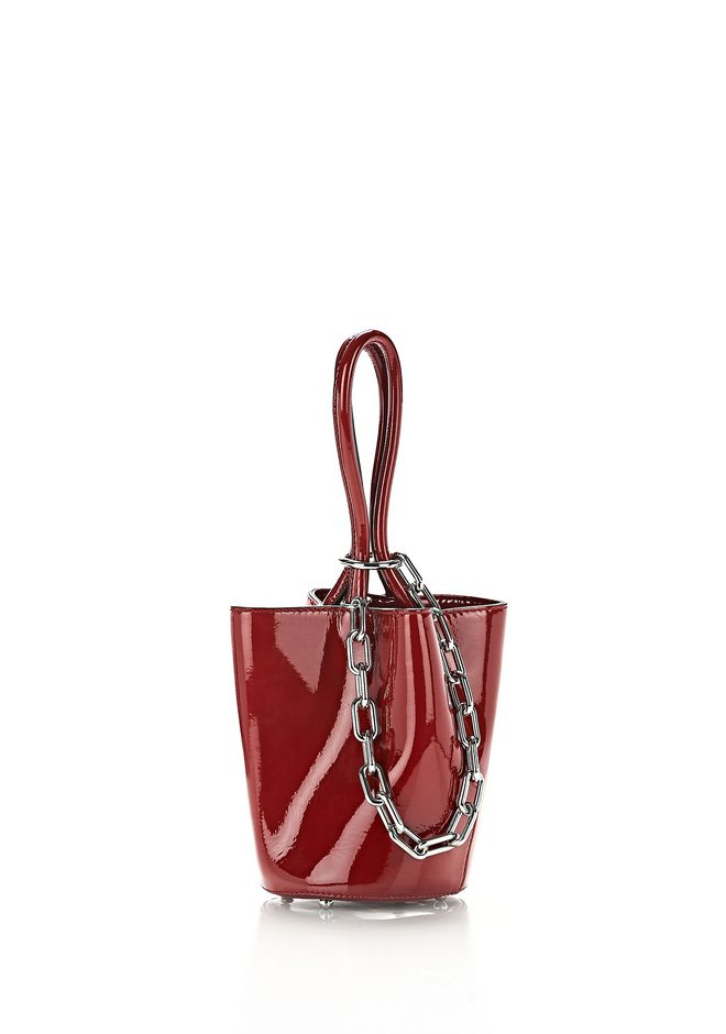 ALEXANDER WANG CLUTCHES ROXY MINI BUCKET IN SCARLET PATENT WITH RHODIUM