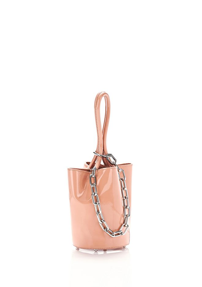 ALEXANDER WANG CLUTCHES ROXY MINI BUCKET IN ROSE PATENT WITH RHODIUM