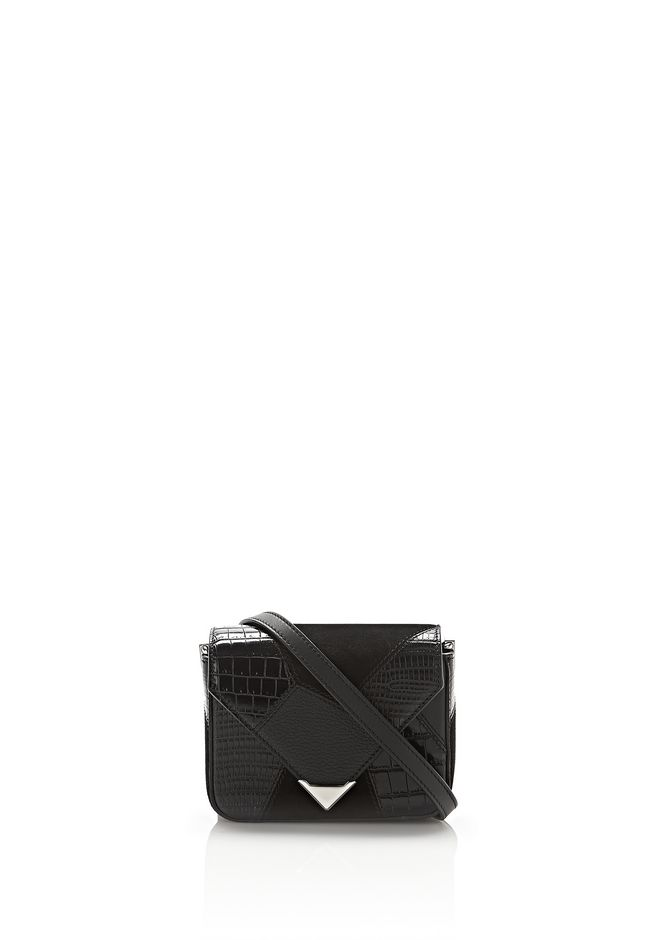 ALEXANDER WANG mini-bags MINI PRISMA ENVELOPE SLING IN MIXED BLACK PATCHWORK WITH RHODIUM