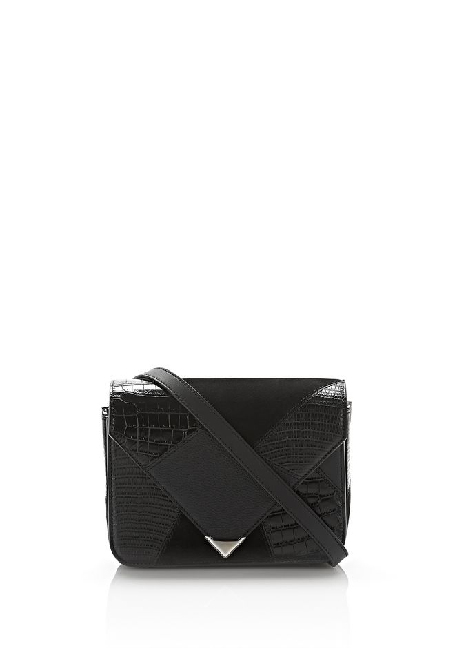 ALEXANDER WANG Shoulder bags SMALL PRISMA ENVELOPE SLING IN MIXED BLACK PATCHWORK WITH RHODIUM
