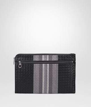 DOCUMENT CASE IN NERO INTRECCIATO NAPPA, EMBROIDERED DETAILS