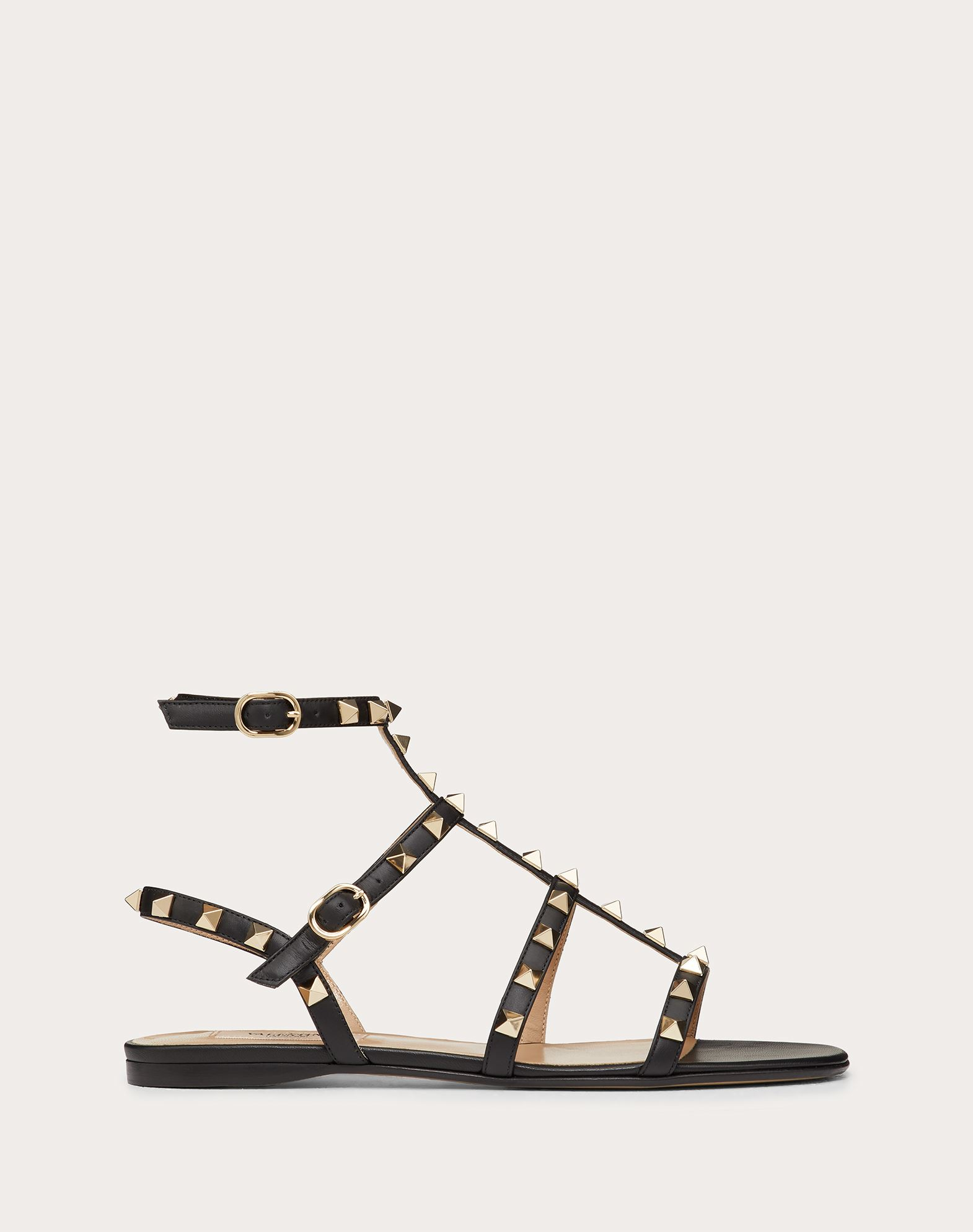 VALENTINO Studs Solid colour Leather sole Side buckle closure  45335038gi