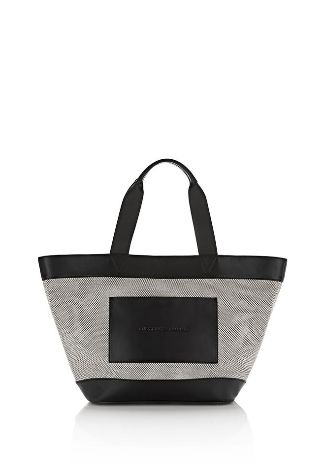 ALEXANDER WANG TOTES BLACK AND WHITE CANVAS TOTE WITH RHODIUM