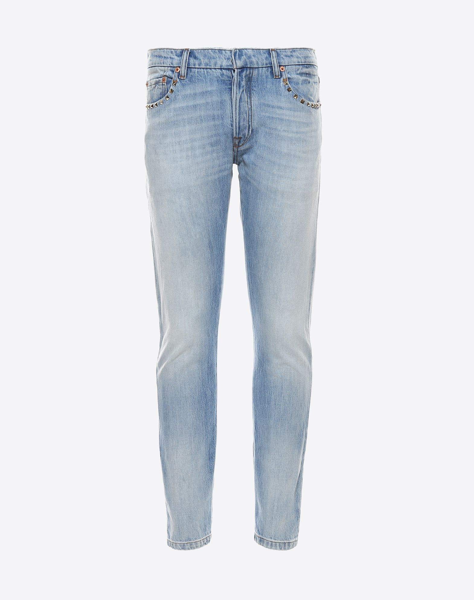 VALENTINO Denim Studs Solid color Button closing Mid Rise Five pockets Faded Effect  45335818hg