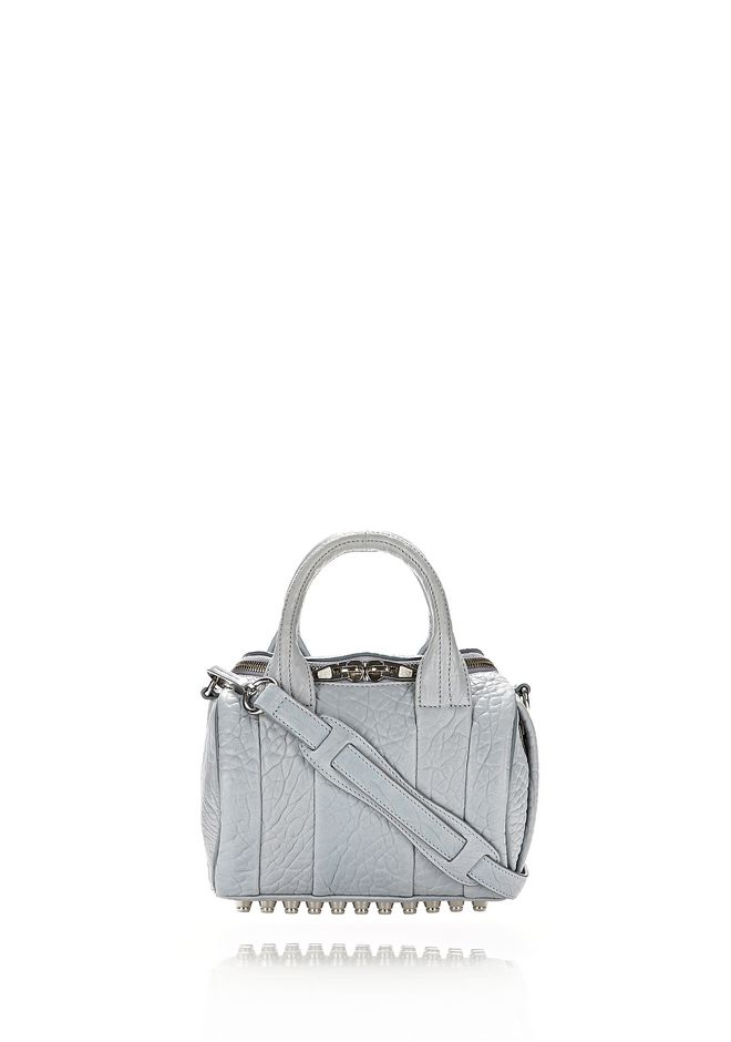ALEXANDER WANG rockie-rocco MINI ROCKIE IN PEBBLED POWDER WITH RHODIUM
