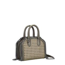 Khaki Falabella Box wicker Mini Bag