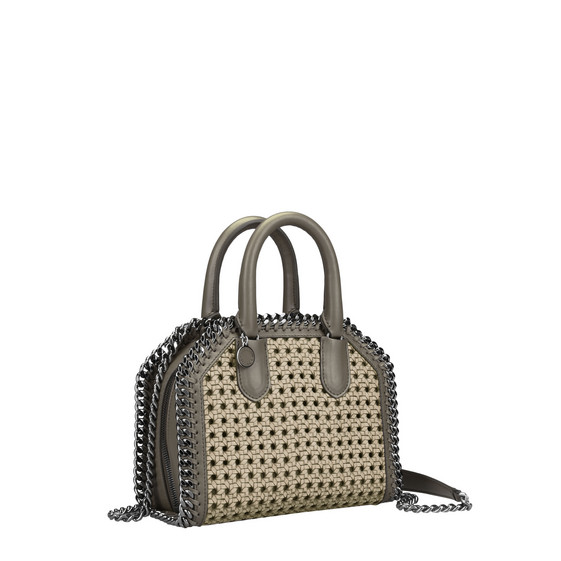Khaki Falabella Box wicker Mini Bag