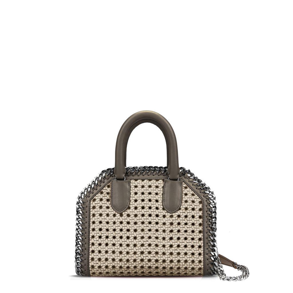 Khaki Falabella Box wicker Mini Bag  - STELLA MCCARTNEY