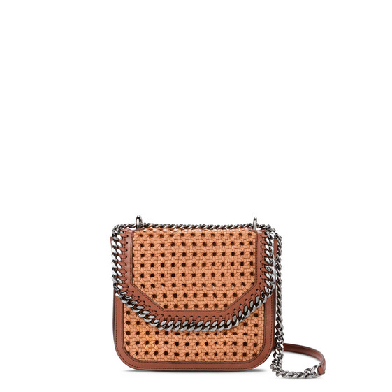 Tan Falabella Box wicker Big Shoulder Bag