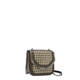 Khaki Falabella Box wicker Mini Shoulder Bag