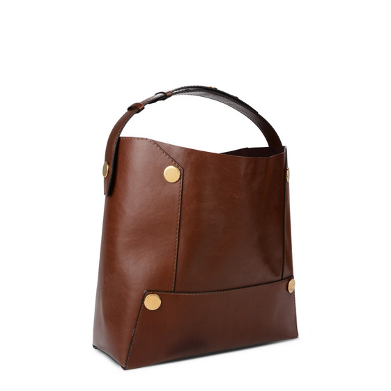 Cognac Stella Popper Bucket Bag