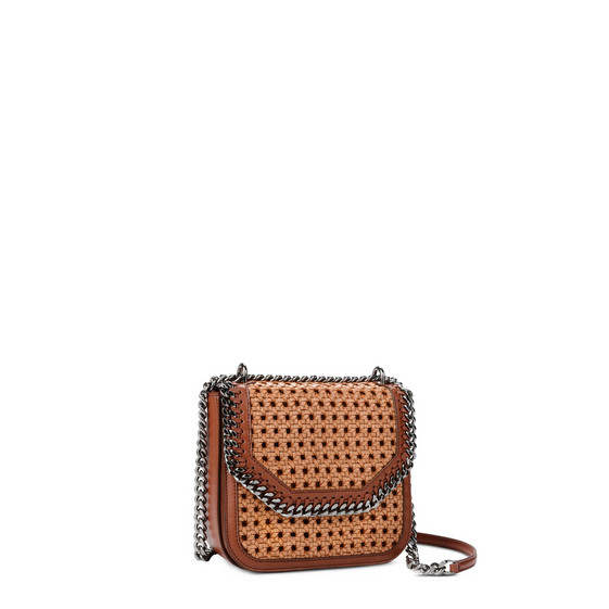 Tan Falabella Box wicker Medium Shoulder Bag