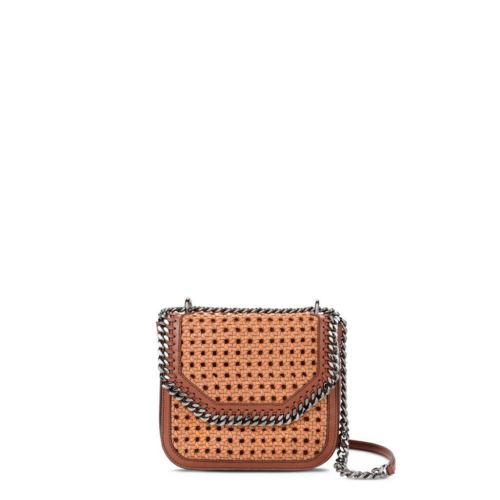Tan Falabella Box wicker Medium Shoulder Bag  - STELLA MCCARTNEY