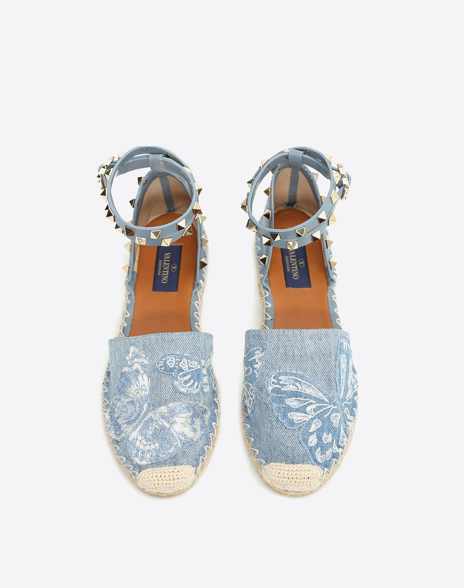 VALENTINO Rubber sole Denim Studs Square heel Buckling ankle strap closure Logo Round toeline  45338498pj