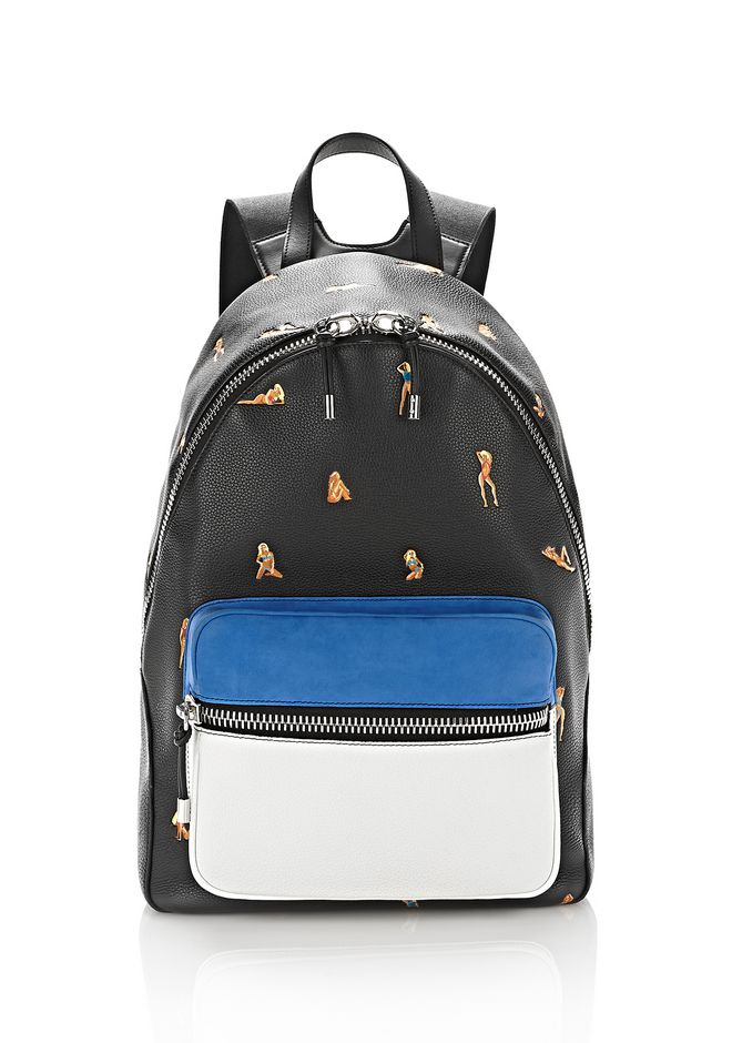 ALEXANDER WANG BACKPACKS BERKELEY BACKPACK PEBBLED BLACK WITH EMBROIDERED BIKINI BABES