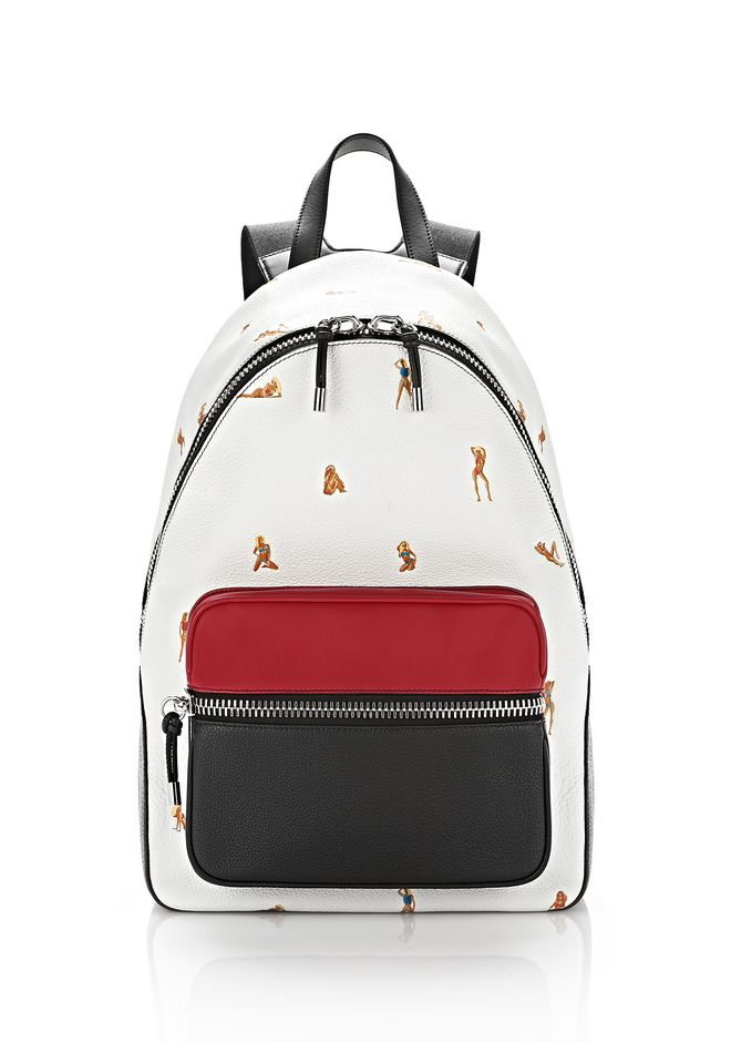ALEXANDER WANG BACKPACKS BERKELEY BACKPACK IN PEBBLED PEROXIDE WITH EMBROIDERED BIKINI BABES